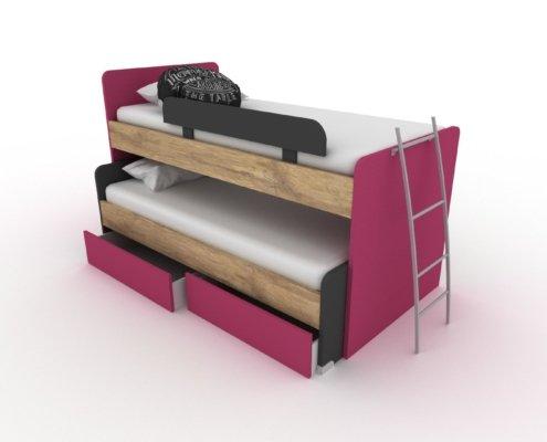 CLEVER LOW με δύο κρεβάτια και αποθηκευτικά συρτάρια.